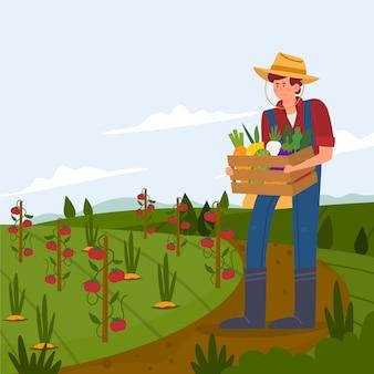 Concetto di agricoltura biologica con agricoltore