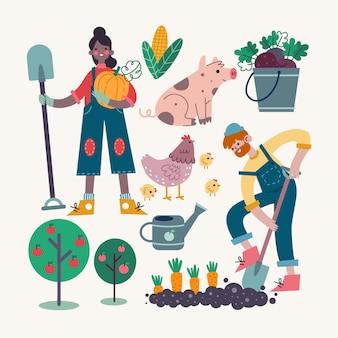 Concetto di agricoltura biologica con animali