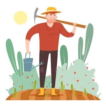 Concetto di agricoltura biologica con l'uomo sul campo