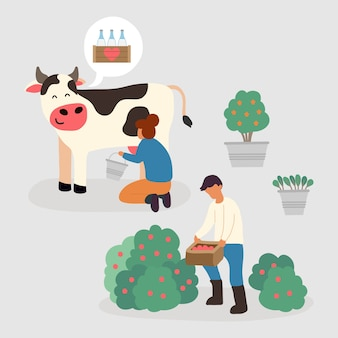 Concetto di agricoltura biologica con mucca
