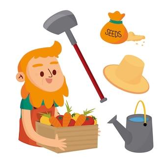 Concetto di agricoltura biologica con scatola della tenuta dell'uomo di verdure