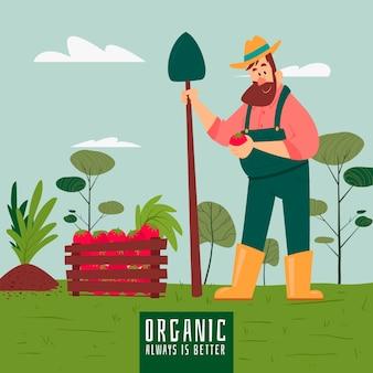 Concetto di agricoltura biologica con uomo che tiene la verdura
