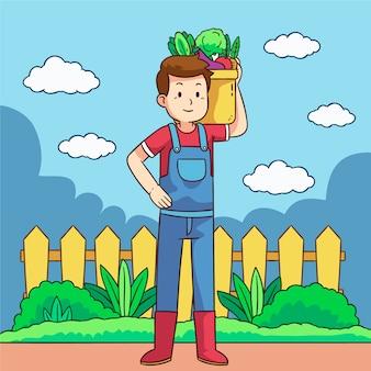 Concetto di agricoltura biologica con uomo che trasporta verdure
