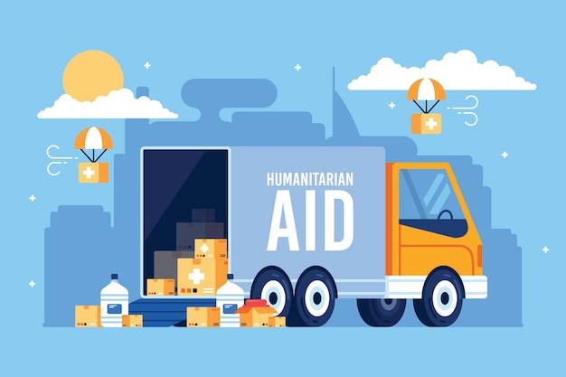 Concetto di aiuto umanitario con camion di aiuto