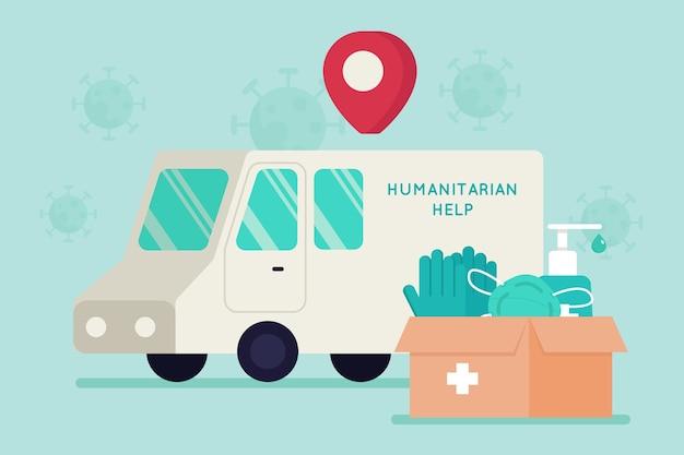 Concetto di aiuto umanitario con guanti e maschere mediche
