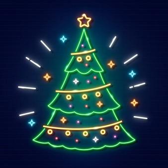 Concetto di albero di natale con design al neon