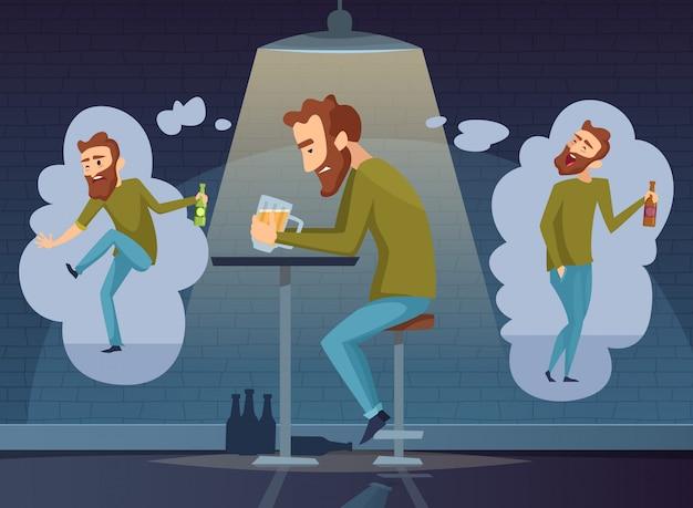 Concetto di alcolismo. depressione scura alcolica dell'uomo dipendente che beve cartello sociale della birra del whiskey della vodka dell'alcool