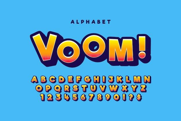 Concetto di alfabeto comico 3d colorato