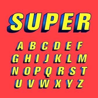 Concetto di alfabeto comico 3d