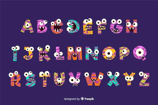 Concetto di alfabeto mostro di halloween