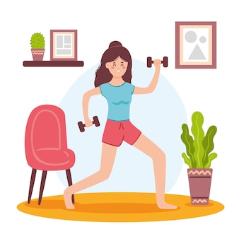 Concetto di allenamento a casa con i pesi