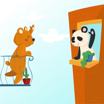 Concetto di allontanamento sociale con simpatici animali illustrati