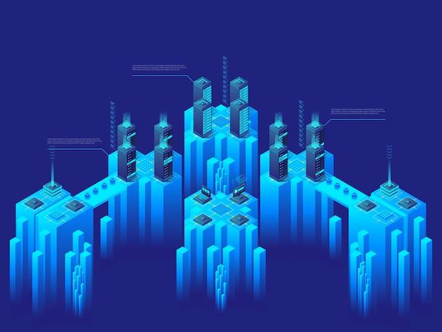 Concetto di alta tecnologia. supercomputer. big data center. server di computer in rete. mercato delle criptovalute. illustrazione isometrica dettagliata.