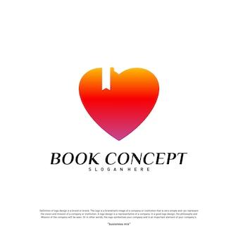 Concetto di amore libro logo. cuore che impara vettore di modello di progettazione di logo di istruzione. icona simbolo