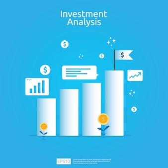 Concetto di analisi degli investimenti finanziari per banner di strategia di marketing aziendale