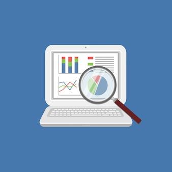 Concetto di analisi dei dati. analisi, concetto di audit finanziario, analisi seo, audit fiscale, funzionamento, gestione. lente d'ingrandimento sul monitor con grafici sullo schermo.