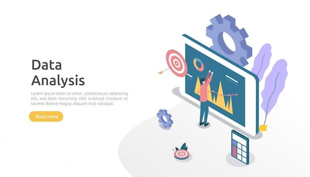 Concetto di analisi dei dati digitali per ricerche di mercato e strategia di marketing digitale. analisi di siti web o data science con carattere di persone. modello per landing page web, banner, presentazione