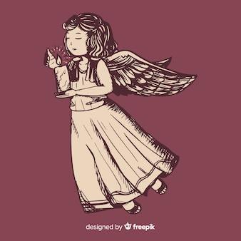 Concetto di angelo di natale con design vintage