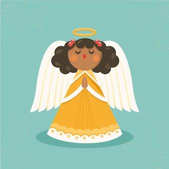 Concetto di angelo di natale in design piatto