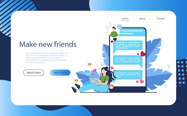 Concetto di app di incontri e comunicazione online. relazione virtuale e amicizia. comunicazione tra persone tramite rete sullo smartphone.