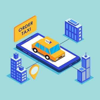 Concetto di app di servizio di taxi mobile online