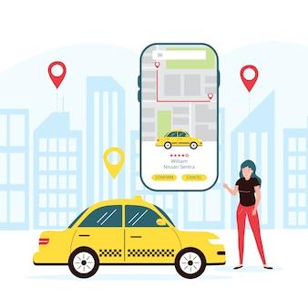 Concetto di app di taxi mobile