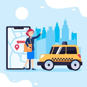 Concetto di app di taxi