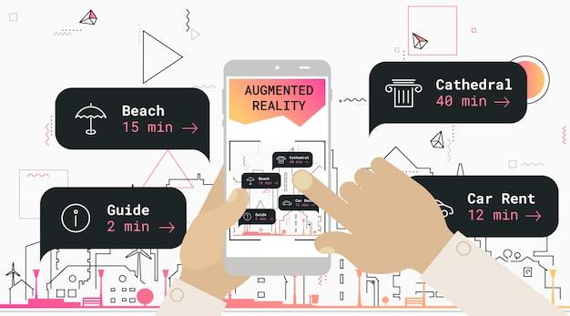 Concetto di app mobile per il turismo della città in realtà aumentata