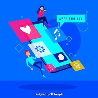Concetto di app mobili per landing page