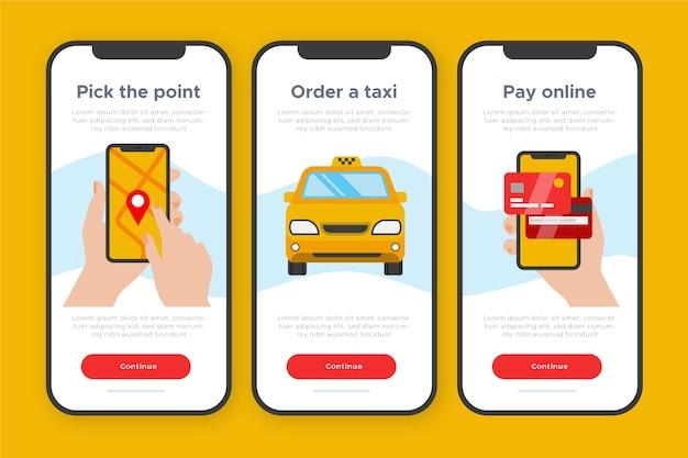 Concetto di app onboarding per servizio taxi