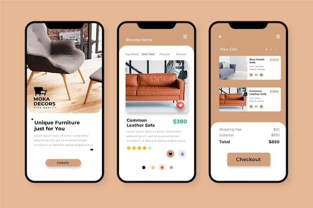 Concetto di app per lo shopping di mobili