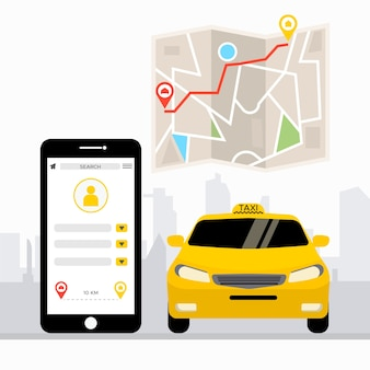 Concetto di app per taxi