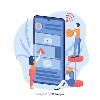 Concetto di app per telefoni cellulari per landing page