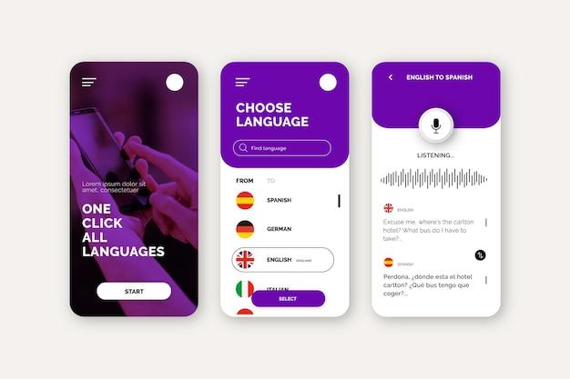 Concetto di app traduttore vocale