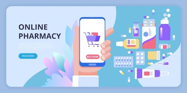 Concetto di applicazione farmacia online, mano di una persona che acquista le pillole online