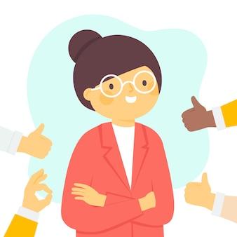 Concetto di approvazione pubblica e donna con gli occhiali