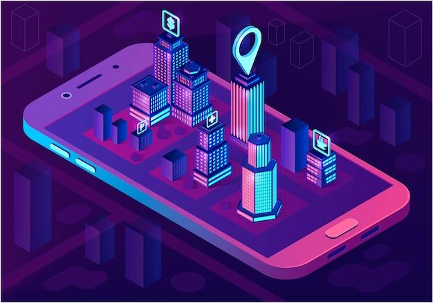 Concetto di architettura isometrica città intelligente