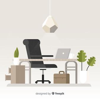 Concetto di area di lavoro piatta con scrivania e sedia