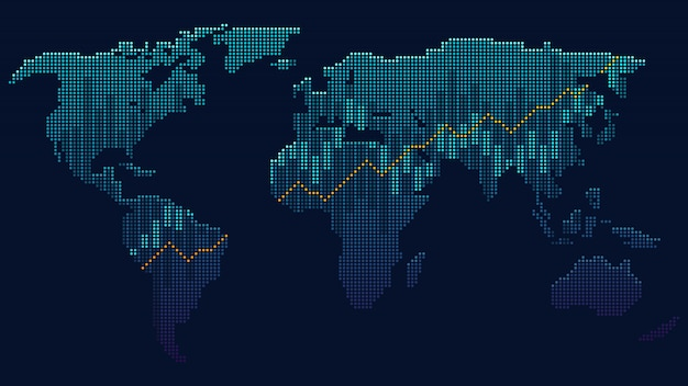 Concetto di arte di punti della rete globale