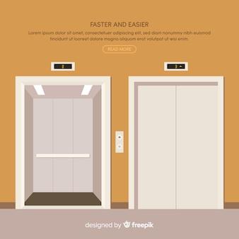 Concetto di ascensore con porte aperte e chiuse in stile piano
