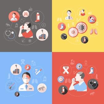 Concetto di asma bronchiale con sintomi di medico e paziente