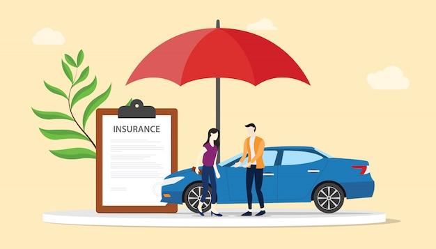 Concetto di assicurazione auto con persone uomini e donna con auto e ombrello rosso