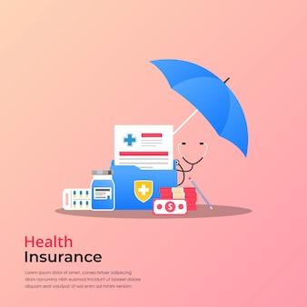 Concetto di assicurazione sanitaria. rapporto di ricerca medica o vettore del contratto con il simbolo dei soldi e delle droghe, illustrazione piana della carta della cartella sanitaria.