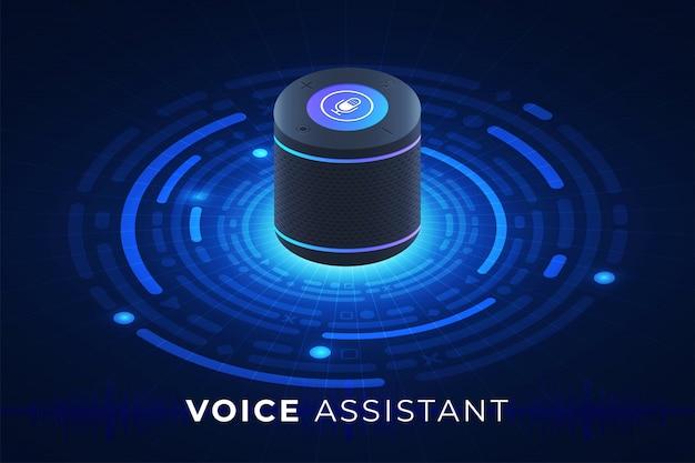 Concetto di assistente vocale internet delle cose. controllare tutto con parlare al dispositivo. grafica moderna. illustrare isometrico.