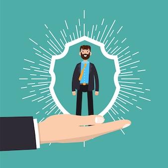 Concetto di assistenza clienti, fidelizzazione o fidelizzazione. l'uomo d'affari in una mano tiene il cliente.