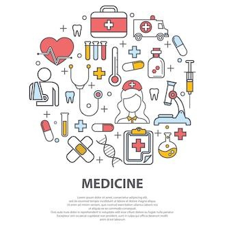 Concetto di assistenza sanitaria con icone di linea sottile