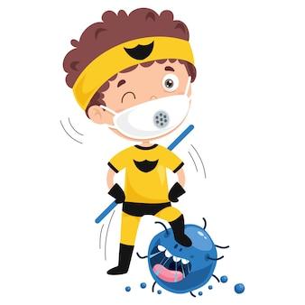 Concetto di assistenza sanitaria con personaggio dei cartoni animati