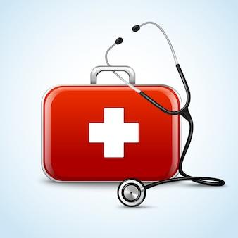 Concetto di assistenza sanitaria di primo soccorso con scatola medica e illustrazione vettoriale di stetoscopio