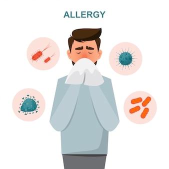 Concetto di assistenza sanitaria. l'uomo si ammala di sintomi allergici