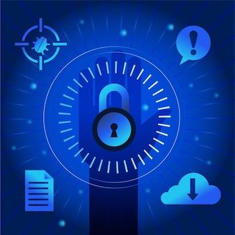 Concetto di attacco informatico con serratura